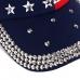 FH066 American Flag Pattern w/Rhinestone Edge Baseball Cap, Blue